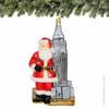 Polonaise Santa and Empire State Building Glass Christmas Ornament