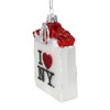 I Love NY Shopping Bag Glass Ornament