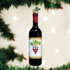 Red Wine Bottle Glass Ornament