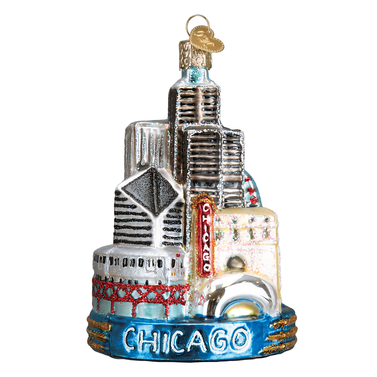 Chicago Landmarks Glass Ornament