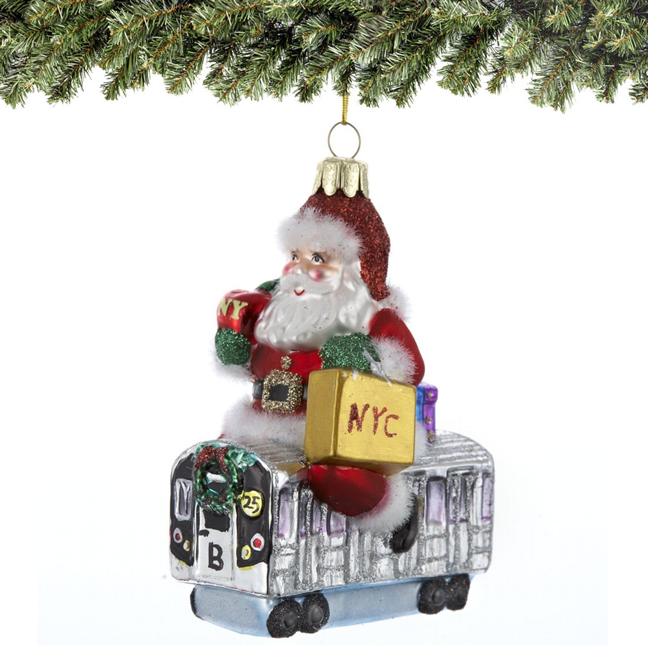 Santa\'s Subway Ride Glass Ornament