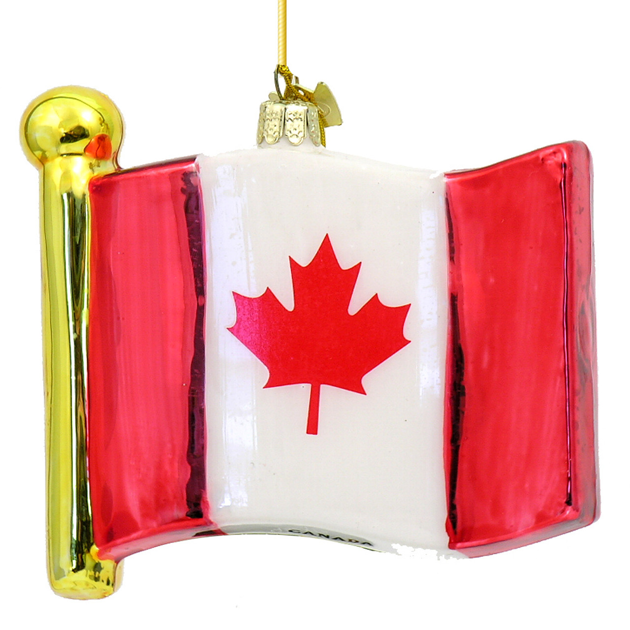 Canadian Flag Glass Ornament