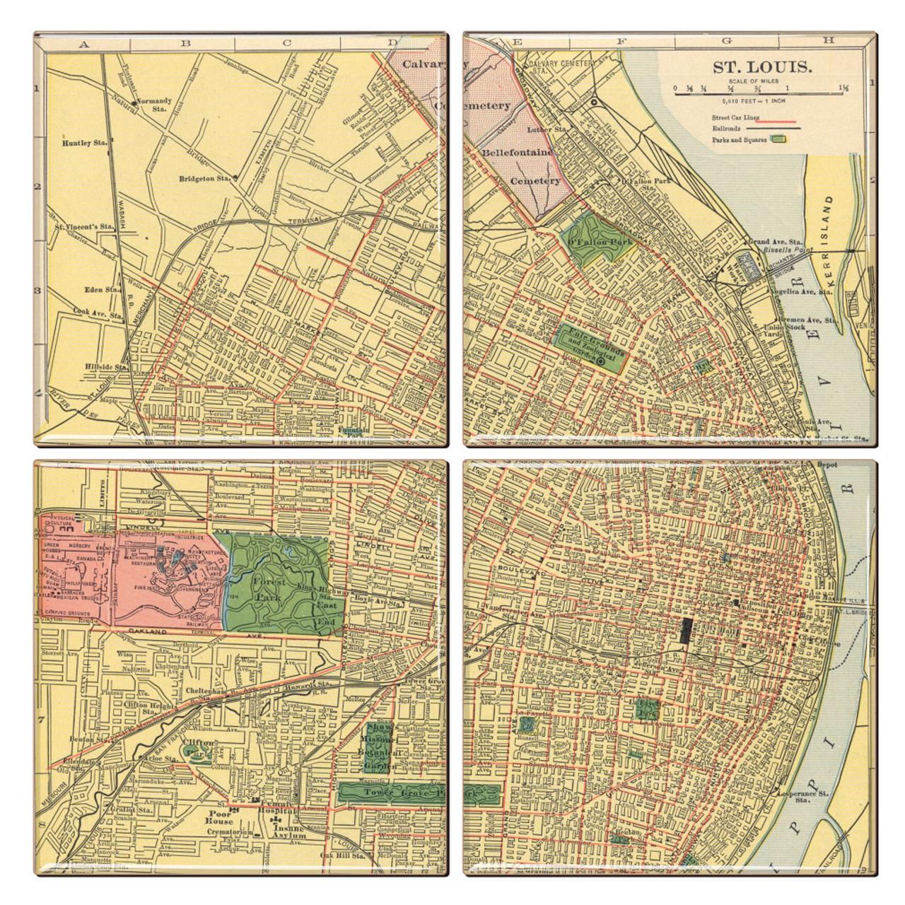 St. Louis Map Coaster Set of 4