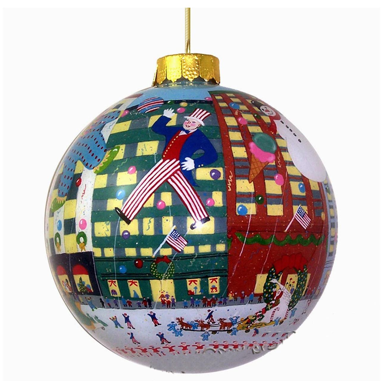 NYC Holiday Parade Glass Ball Ornament