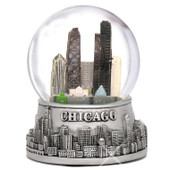 Silver Skyline Musical Chicago Snow Globe