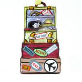 Vacation travel destination luggage Christmas ornaments