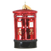 London Post Box Ornament - Glass