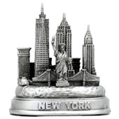 Silver replica of New York City Skyline