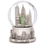 Silver Musical New York City Snow Globe with NYC Skyline
