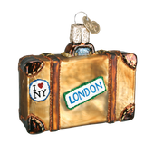 Destinations Suitcase Glass Ornament