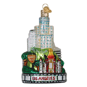 Los Angeles Landmarks Glass Ornament