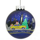 nyc skyline taxi ornament