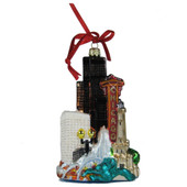 Chicago Cityscape Glass Ornament
