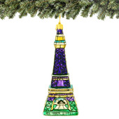 European Glass Eiffel Tower Christmas Ornament