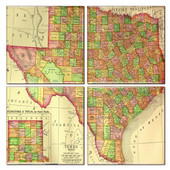Texas Map Coaster Set of 4