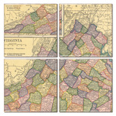 Virginia Map Coaster Set of 4