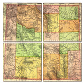 Wyoming Map Coaster Set of 4