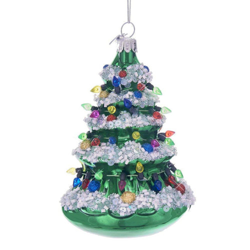 glass and glitter old fashioned christmas tree ornament