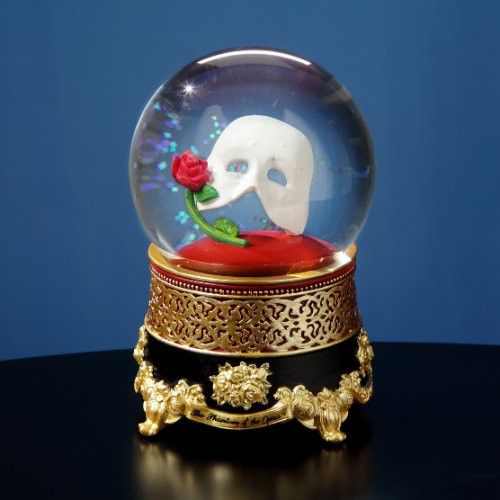 Phantom of the Opera Mask & Rose Snow Globe