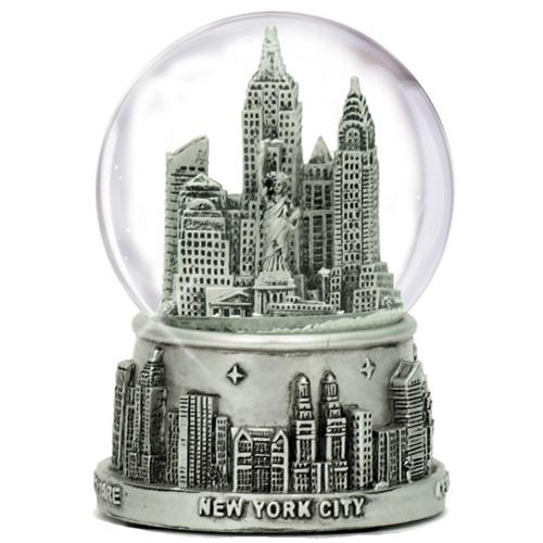Medium Silver New York City Skyline Snow Globe
