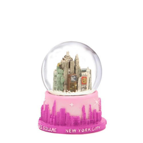 Pink NYC Skyline Snow Globe