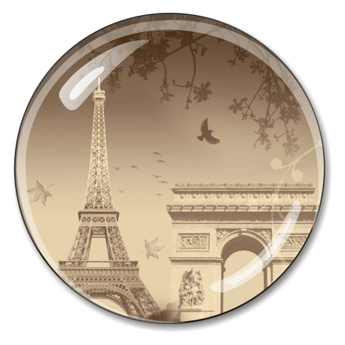 Eiffel Tower, Arc de Triomphe French Crystal Paperweight
