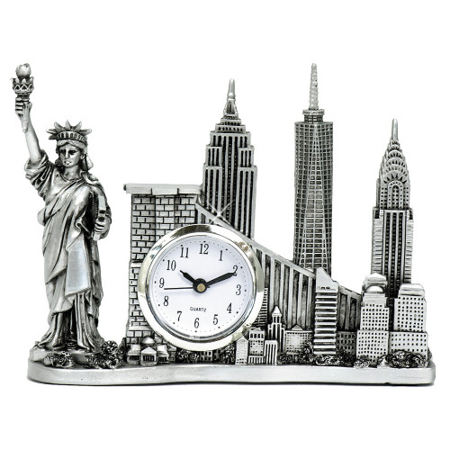 Silver New York Landmarks Clock with Empire State Building and Chrysler Building