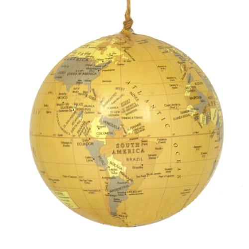 World Globe Ornament - Antique Yellow