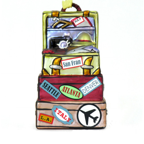 Vacation travel destination luggage Christmas ornaments