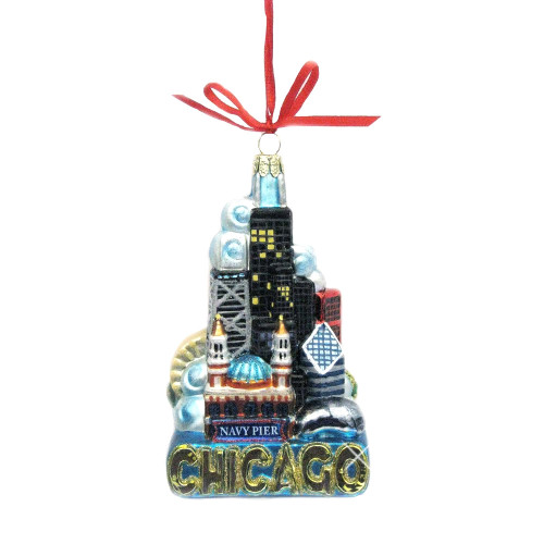 Chicago Landmarks Ornament, Glass Chicago Skyline Ornament