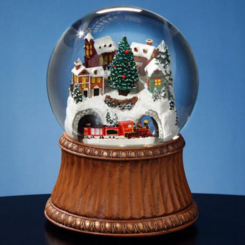 Train and Mountain Village 120mm Snow Globe
