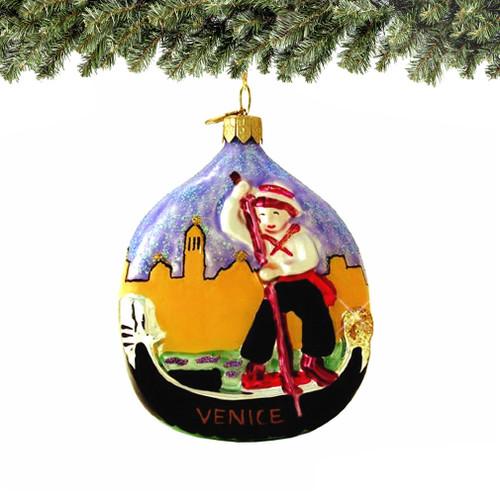 Venice Gondola Christmas Ornament, Hand Blown European Glass