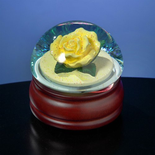 Rose snow globe, musical, plays You Are My Sunshine.