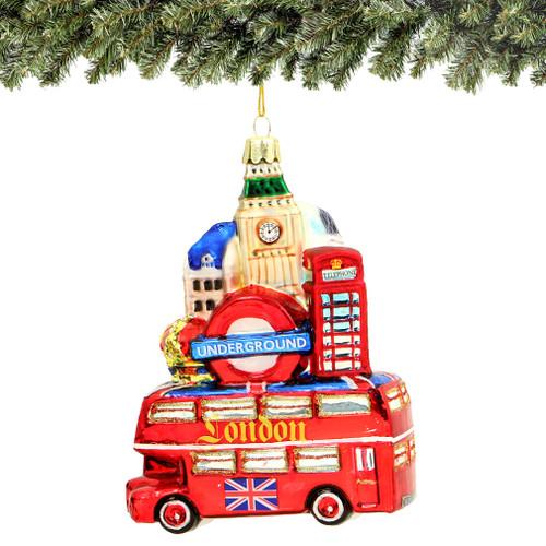 London Bus And Landmarks Glass Ornament