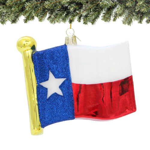 Texas Christmas Ornaments, glass state flag