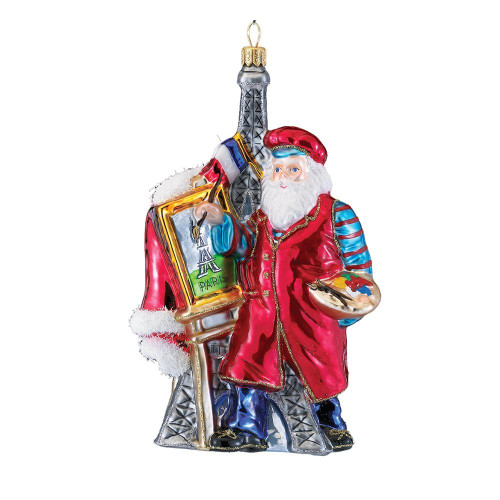 Polonaise French Santa Glass Santa Ornament