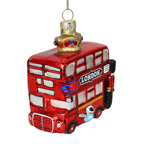 London Double Decker Bus and Crown Glass Ornament