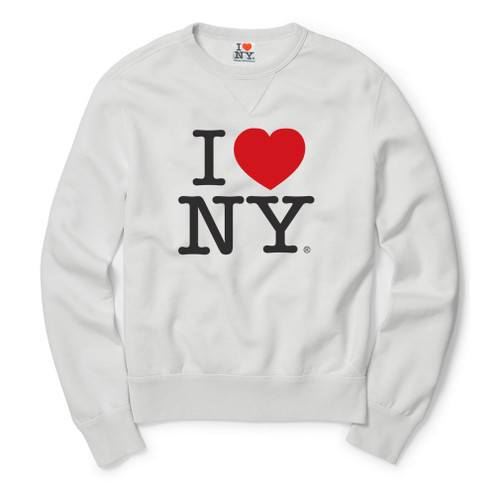 White I Love NY Crewneck Sweatshirt