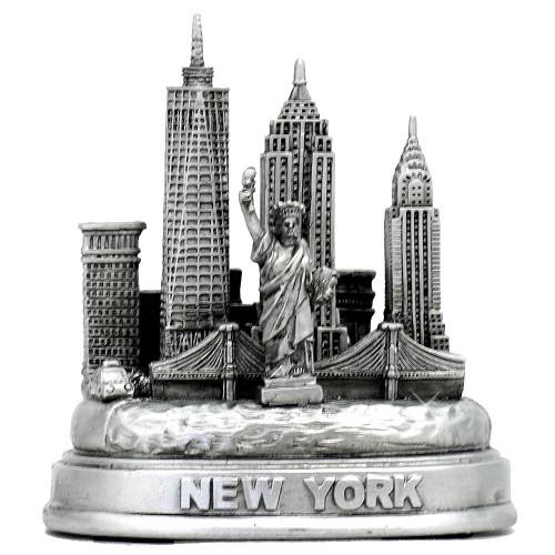 Silver replica of New York City Skyline