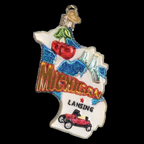 State Of Michigan Landmarks Glass Ornament