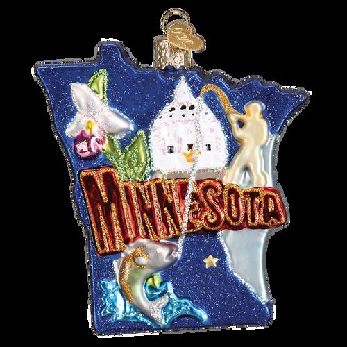 State Of Minnesota Landmarks Glass Ornament