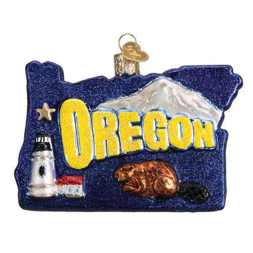 State Of Oregon Landmarks Glass Ornament