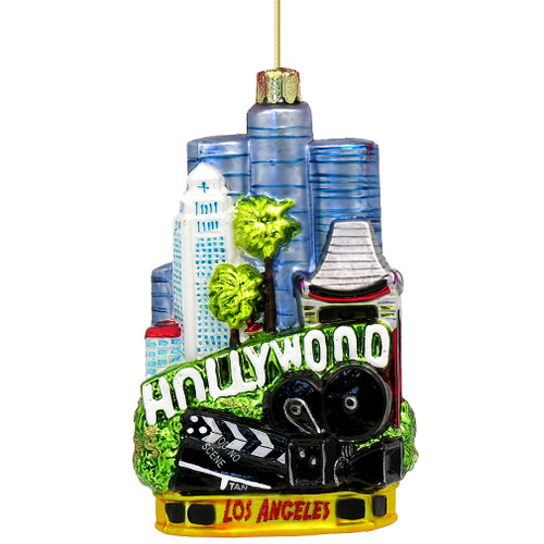 Hollywood Christmas Ornament and Los Angeles on the opposite side