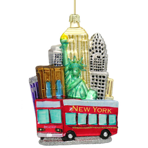 New York City Tour Bus Glass Ornaments