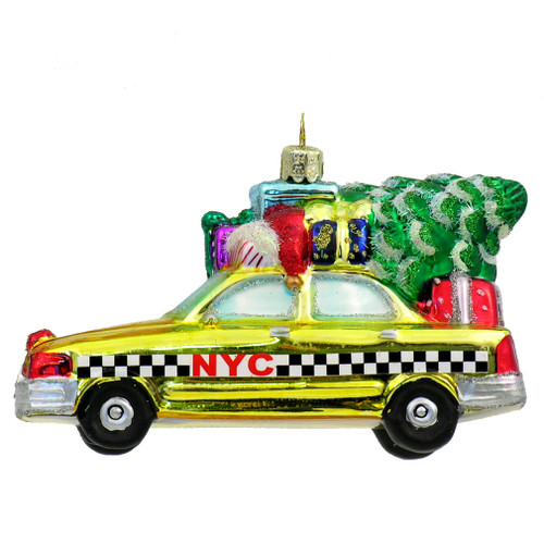 NYC Taxi with Tree Glass Ornament