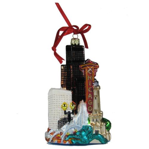 Chicago Cityscape Glass Ornament