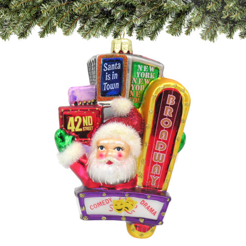 Santa on Broadway Glass Ornament