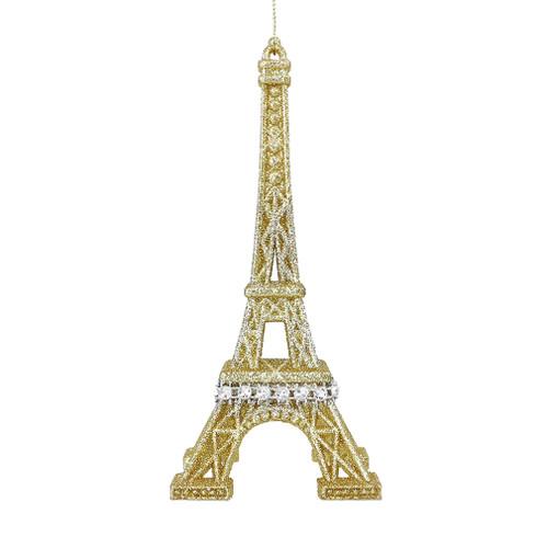 Silver & Gold Glitter Eiffel Tower Ornament - Gold