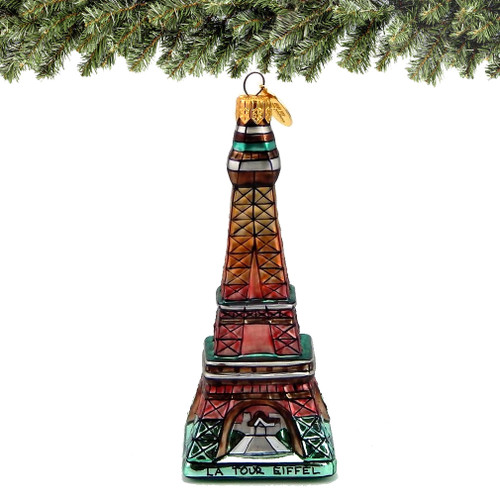 Eiffel Tower Christmas Ornaments, Handmade in Europe, Glass
