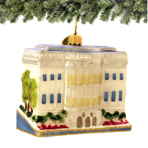 white house christmas ornament, glass